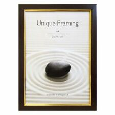 A4 Classic Mahogany Effect & Gold Detailed Value Photo Frame Width 2cm