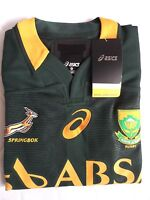S XL ASICS SOUTH AFRICA TEST (A) SPRINGBOKS RUGBY *RUBBER TREATED* Shirt Jersey