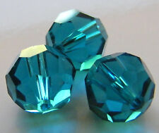 30pcs 12mm Faceted Round Crystal Beads - Dark Turquoise