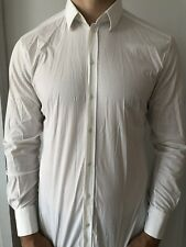 Dolce Gabbana Dress Shirt Gold 16.5 16 1/2 42 White Stretch Cotton $300