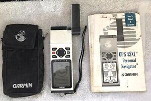 Garmin GPS 45 XL Handheld Water Resistant Marine Navigator  + Case Manual Bundle