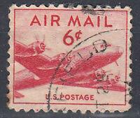 USA Briefmarke gestempelt 6c Air Mail Flugzeug Rundstempel / 734