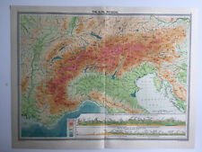 Map Of Alps Physical Geneva Switzerland Italy Stelvio Pass Mont Blanc 1930 Large
