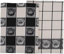Milk Jug Jugs Tea Towels Set of 2  100% Cotton Black & White Teacups Kitchen NEW