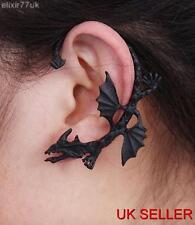 ALCHEMY BLACK DRAGON STUD EAR CUFF CARTILAGE DRAGON WRAP GOTH PUNK PEWTER  SNAKE