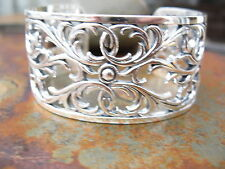 Sterling Silver Cuff Wide Bangle Bracelet Open Floral Filigree Design....NEW