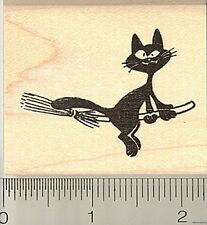 Halloween Cat on Broom Witch rubber stamp G9719 WM