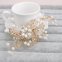 Wedding Prom Hair Comb Gold Crystal Bridal Accessories Rhinestone Headpiece 1 PC