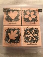 Stampin Up Made From Scratch Set Of 4 Wood Mounted Rubber Stamp Su 2005 Retired
