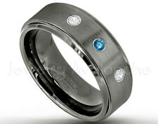 Tungsten Ring, 0.21ctw Blue & White Diamond 3-Stone Ring, April Birthstone #616