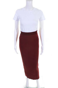 Ronny Kobo Womens High Rise Stretch Long Skirt Red Size Small