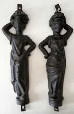 antica coppia fregi figure femminili in ferro