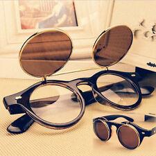 Steampunk Goth Goggles Glasses Retro Flip Up Round Sunglasses Vintage Brown 023