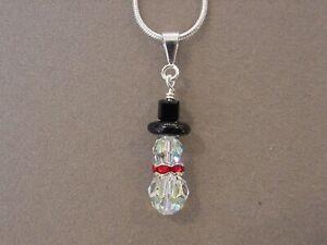 Christmas Snowman Pendant Necklace made w/ Swarovski Crystal choice silver /gold