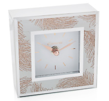 Rose Gold Feathers Square Mirrored Mantle Desk Clock 12cm