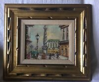 Vintage Rome Scenery Oil Painting on Canvas signed Giglio??, Framed