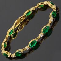 Riva Neu 18K Gold Vergoldet Marquise Gruen Smaragd Elegante Tennisarmband