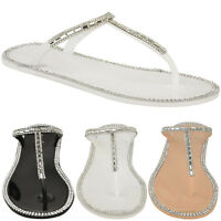 Womens Ladies Diamante T Bar Flat Strappy Jelly Sandals Flip Flops Holiday Size