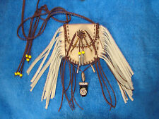 MEDICINE BAG FRINGED LEATHER CIRCLE OF LIFE NECKLACE BAG NECKLACE POUCH