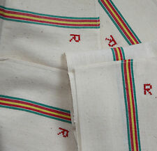 4 Vintage French Torchon Tea Towels R Monogram Metis Linen Cotton Never Used
