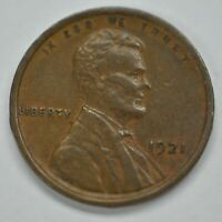 1921-P US Lincoln Wheat Cent Penny AU+ Condition, Strong Cameo     A-586