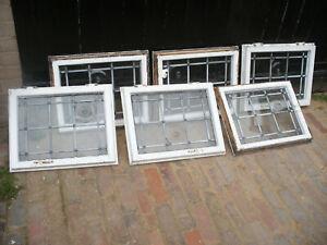 Reclaimed leaded glass window top lights in wooden frames