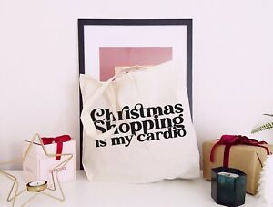 Christmas Shopping Is My Cardio - Large Canvas Tote Bag