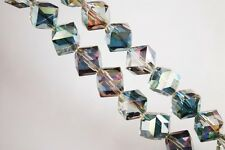 10pcs 10mm Diagonal Cube Square Faceted Crystal Glass Loose Beads Rose Green