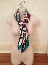Unused with box, Hermes silk scarf, burgundy/white/green/black