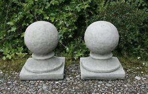 Pair Stone Ball Finial Gate Post Top Garden Ornament Statue Victorian