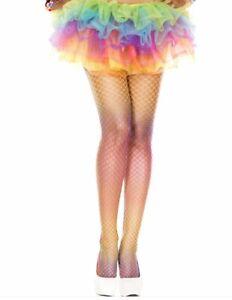 Rainbow Mini Diamond Net Spandex fishnet Tights Funky Festival Party Tights