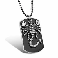 Men's Black Military Dog Tag Silver Tone Scorpion Pendant Necklace w Bead Chain
