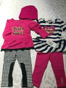 New set of 4 Juicy Couture pink blue pants + tops + hat baby girl 18M $130