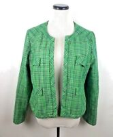 Cynthia Rowley Women's Large Blazer Jacket Green Tweed Boucle Structured Career