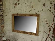 Spiegel aus Altholzbalken handbehauen rustikaler Holzbalkenspiegel Shabby 70 x 1