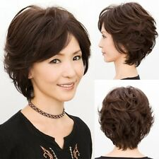 Fashion Glamour Women Short Curly Wavy Brown Hair Bob Wigs Mother Daily Wear