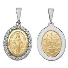 9ct Yellow/White Gold Medium 24mm Madonna Oval Shaped Virgin Mary Disc Gift Box
