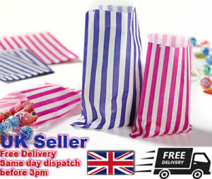 Candy Stripe Paper Bags Gift Shop Party Buffet Wedding Cake Sweet Treat Pick-Mix