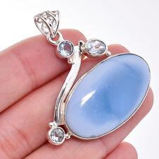 925 Sterling de Plata Natural Owyhee Azul Opalo Aguamarina Gemas Colgante