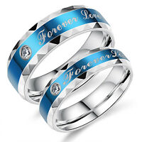 """Stainless Steel """"Forever Love"""" Couples Blue Promise Engagement Ring Wedding Band"""