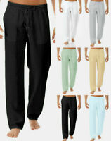 Men's Summer Drawstring Lightweight Pants Solid Cotton And Linen Pants Trousers