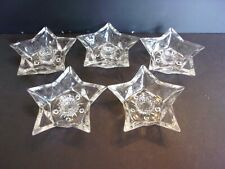 5 - Star Shaped Candle Holders for Tapered Candles-Clear Pressed Glass Bottom