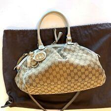 Gucci Sukey Two-way Shoulder Bag Hobo Satchel #223974 Cream/Brown Logo Pre-owned