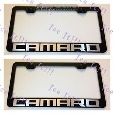 """2X """"CAMARO"""" Stainless Steel Black License Plate Frame Rust Free W/ Bolt Caps"""