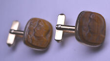 VINTAGE SWANK GOLD FILLED TIGER EYE DOUBLE GLADIATOR CAMEO CUFFLINKS