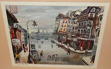 "Joseph Anthony Buzzelli ""Place du Chatelet,Paris"" color lithograph"