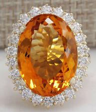 17.91 Carat Natural Citrine 14K Yellow Gold Diamond Ring