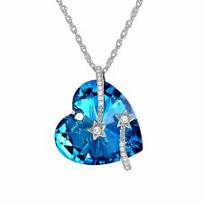 Necklace Star Engraved Blue Heart Necklace made with Swarovski Elements Crystals