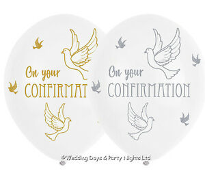 6 White On Your Confirmation Helium or Air Balloons Party Decorations Boys Girls