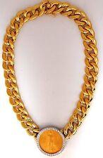 █$30000 1908 LIBERTY FINE GOLD COIN 2.00CT DIAMONDS CUBAN LINK NECKLACE HUGE